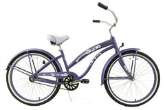 View Flat Purple Womens 26 inch Beach Cruiser Bike Single Speed Kruiser 1 A L in detail