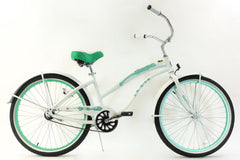 View Pearl White with Mint Green Womens 26 inch Beach Cruiser Bike Single Speed Kruiser 1 A L in detail