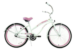 View Pearl White with Pink Wheels Womens 26 inch Beach Cruiser Bike Single Speed Kruiser 1 A L in detail