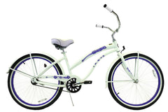 View Pearl White with Purple Womens 26 inch Beach Cruiser Bike Single Speed Kruiser 1 A L in detail