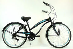 View Black with Baby Blue Wheels Aluminum Womens 26 inch Beach Cruiser Bike Seven Speed Kruiser 7 A L in detail