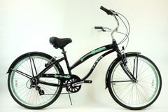 View Black with Mint Green Aluminum Womens 26 inch Beach Cruiser Bike Seven Speed Kruiser 7 A L in detail