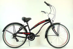 View Black with Red Wheels Aluminum Womens 26 inch Beach Cruiser Bike Seven Speed Kruiser 7 A L in detail