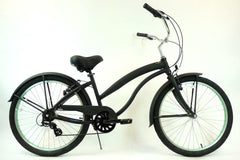 View Flat Black with Mint Green Wheels Aluminum Womens 26 inch Beach Cruiser Bike Seven Speed Kruiser 7 A L in detail