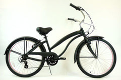 View Flat Black with Pink Wheels Aluminum Womens 26 inch Beach Cruiser Bike Seven Speed Kruiser 7 A L in detail