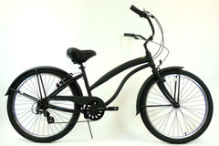 View Flat Black with Purple Wheels Aluminum Womens 26 inch Beach Cruiser Bike Seven Speed Kruiser 7 A L in detail