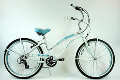 View Pearl White with Baby Blue Wheels Aluminum Womens 26 inch Beach Cruiser Bike Seven Speed Kruiser 7 A L in detail