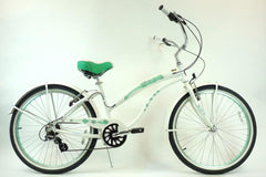 View Pearl White with Mint Green Wheels Aluminum Womens 26 inch Beach Cruiser Bike Seven Speed Kruiser 7 A L in detail