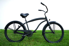 View Flat Black with Black Mens 26 inch Beach Cruiser Bike Single Speed Kruiser 1 A L in detail
