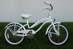 View Pearl White with Pink Girls 20 Inch Beach Cruiser Bike Single Speed BC-2006 in detail