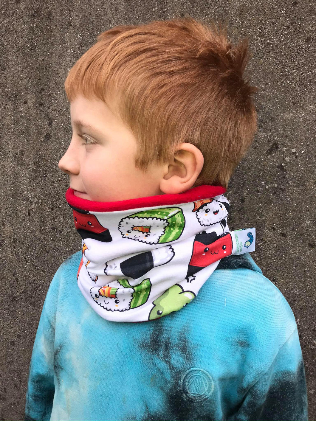 Sushi neck warmer, organic loop scarf