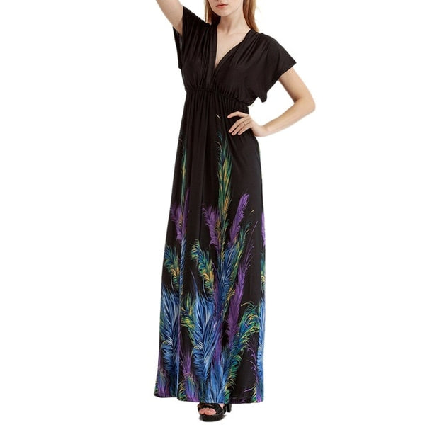 Large Size Women Sexy Summer Women Beach Bohemian Dresses Butterfly Feather Print Maxi Dress Party Vestidos Plus Size 7XL