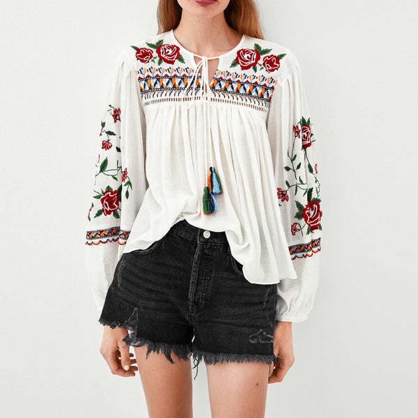 Jastie Round neck tunic Pullover Floral Embroidery Women Shirt Blouse Long puff sleeves Autumn Blouses Top Casual Loose Blusa