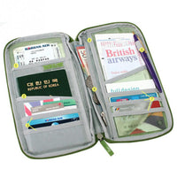 Zip around canvas passport document holder and travel/ticket wallet