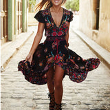 Black and red bohemian peacock high low maxi festival dress with tassels