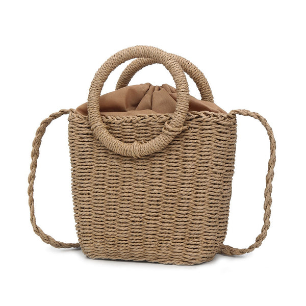 Straw Woven Bag Handmade Rattan Woven Vintage Retro Straw Rope Knitted Women Crossbody Handbag With Ring Fresh Summer Beach Bag1