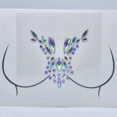 Festival Chest Jewels, Stick on Gems, Rhinestone Body Tattoo Sticker