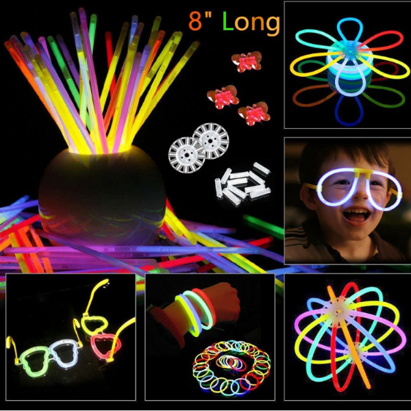 "100 PartySticks Glow Sticks Bulk  8"" Brand Premium Glow In The Dark Light Sticks"
