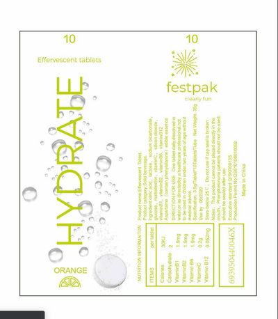 Hydrate - Effervescent Electrolyte Tablets On-the-go Hydration Tablets