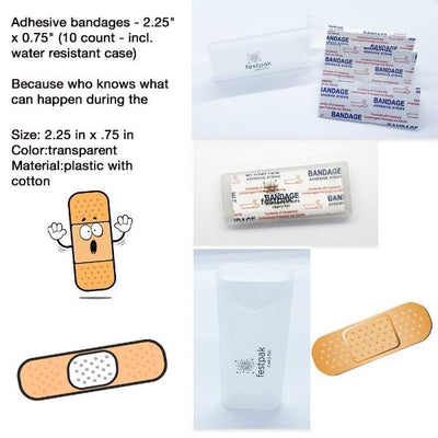 Adhesive Bandages, 10 per Box, Water Resistant Holder
