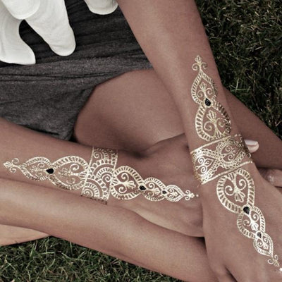 3 PACK | MIXED SET Stunning Boho Henna Inspired Gold/Silver Temporary Tattoos