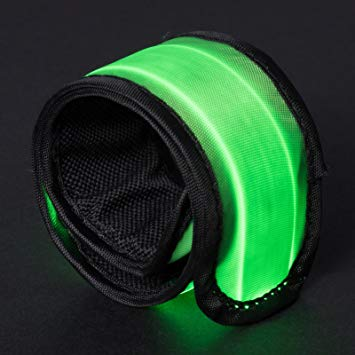 Green LED Light Up Band Slap Bracelets