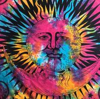 Psychedelic Celestial Indian Sun Tapestry Blanket, Wall Hanging (Queen)