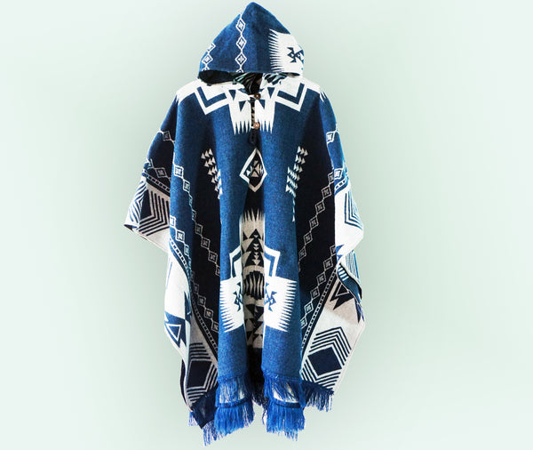 Handmade Poncho Alpaca Wool (Andean Night Blue)