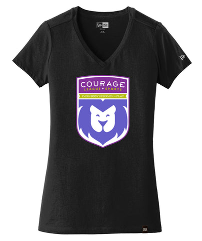 Courage League Shield New Era Womens V-Neck Tee