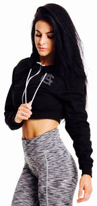 Adonis & Grace Cropped Hoody Black