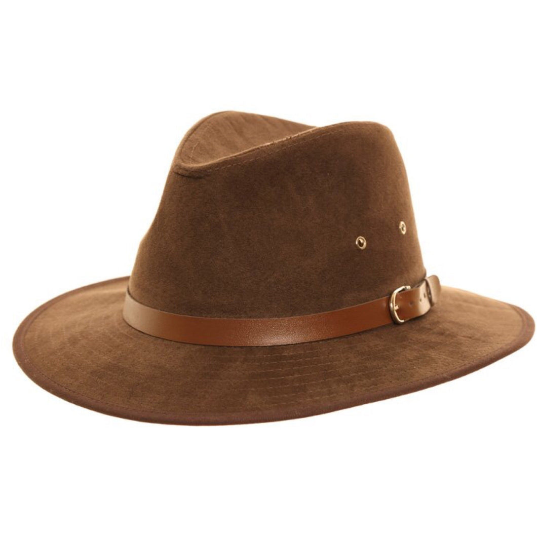 Adonis & Grace Brown Faux Suede Fedora Trilby Hat