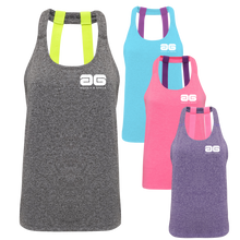 Load image into Gallery viewer, Adonis & Grace Double Strap Training Yoga Vest Grey Yellow