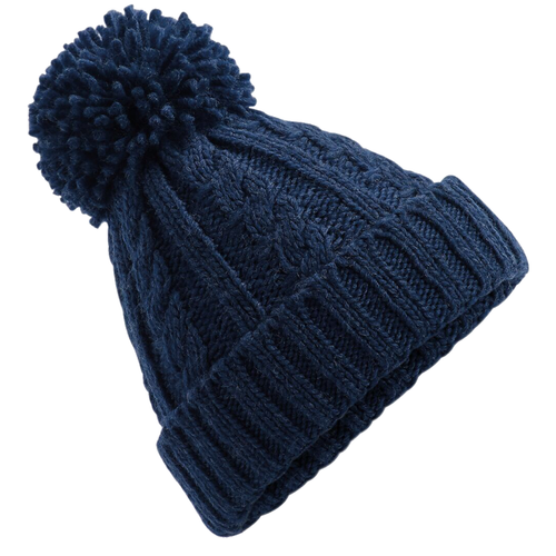 Adonis & Grace Cable Knit Melange Beanie Hat Navy