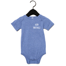 Load image into Gallery viewer, Adonis & Grace (Personalised) Baby Grow Triblend One Piece Blue