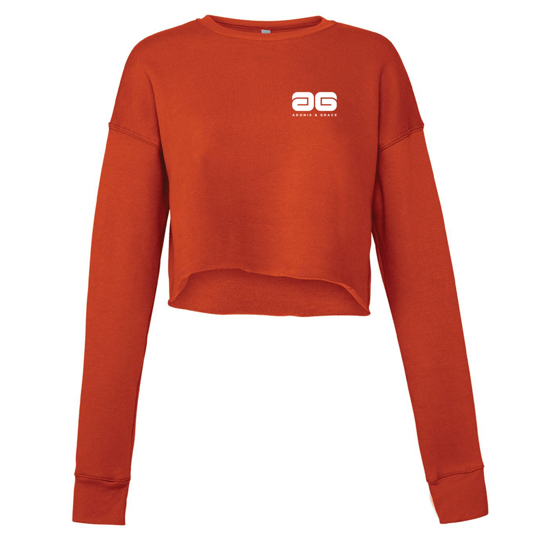 Adonis & Grace Cropped Crew Gym Fleece Red