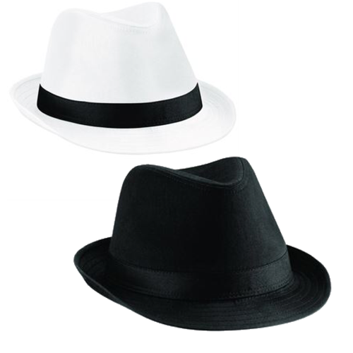 Retro Trilby Fedora Gangster Hat White or Black - BrandClearance