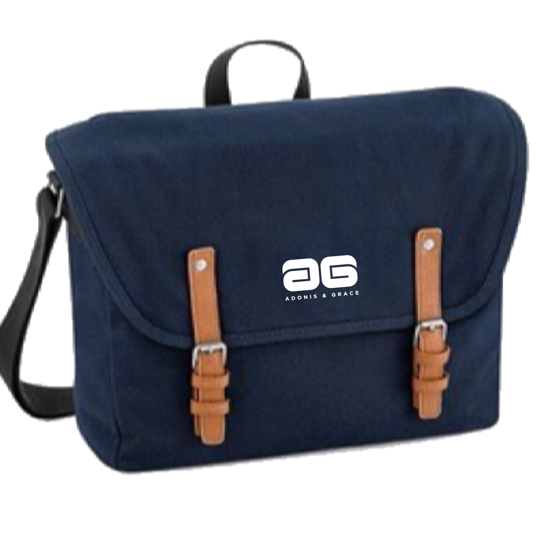 Adonis & Grace Luxury Vintage Messenger Bag Navy