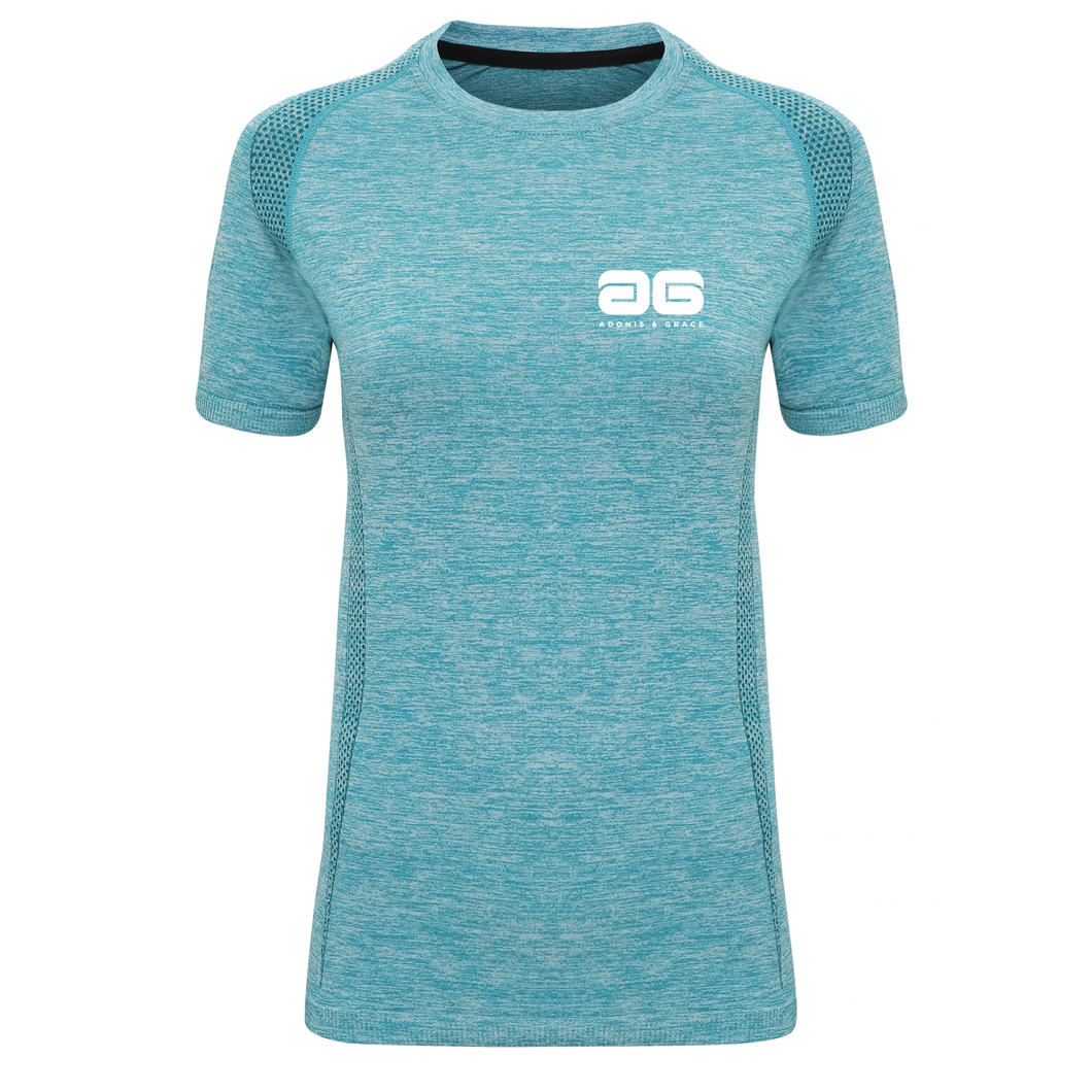 Adonis & Grace Womens Seamless Short Sleeve T-Shirt Turquoise