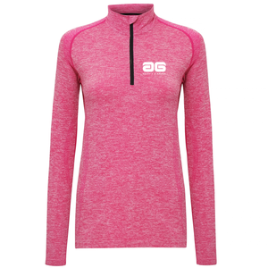 Adonis & Grace Womens Seamless Long Sleeve Zip Top Pink