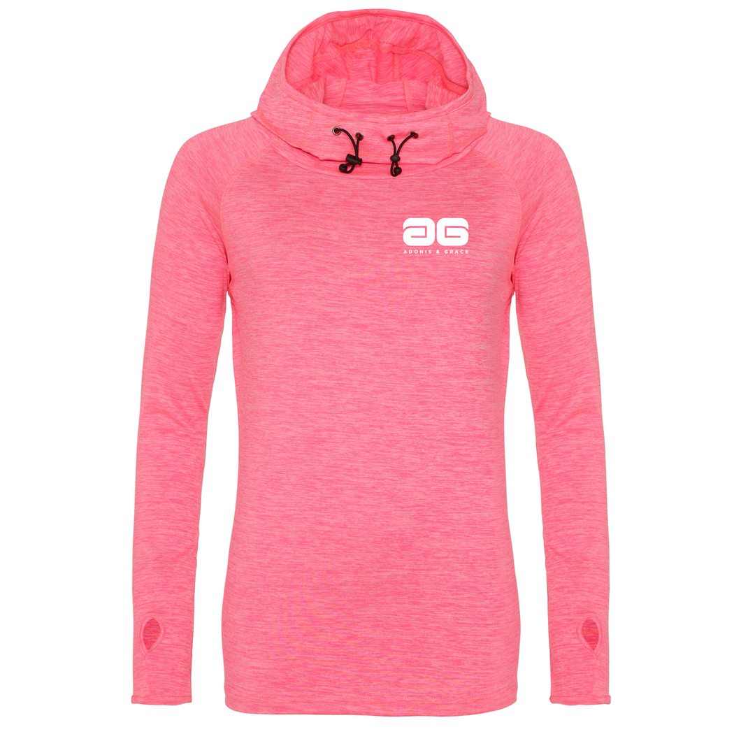 Adonis & Grace Womens Cowl Neck Hooded Gym Top Pink