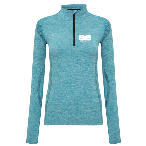 Adonis & Grace Womens Seamless Long Sleeve Zip Top Turquoise