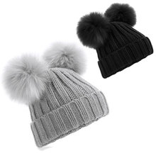 Load image into Gallery viewer, Adonis & Grace Faux Fur Double Pom Pom Beanie Black