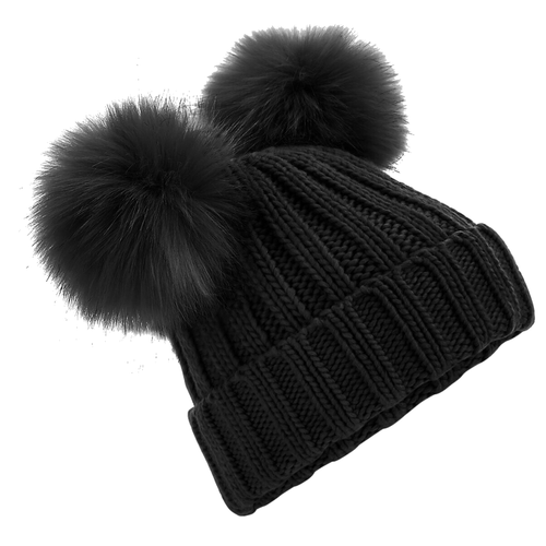 Adonis & Grace Faux Fur Double Pom Pom Beanie Black