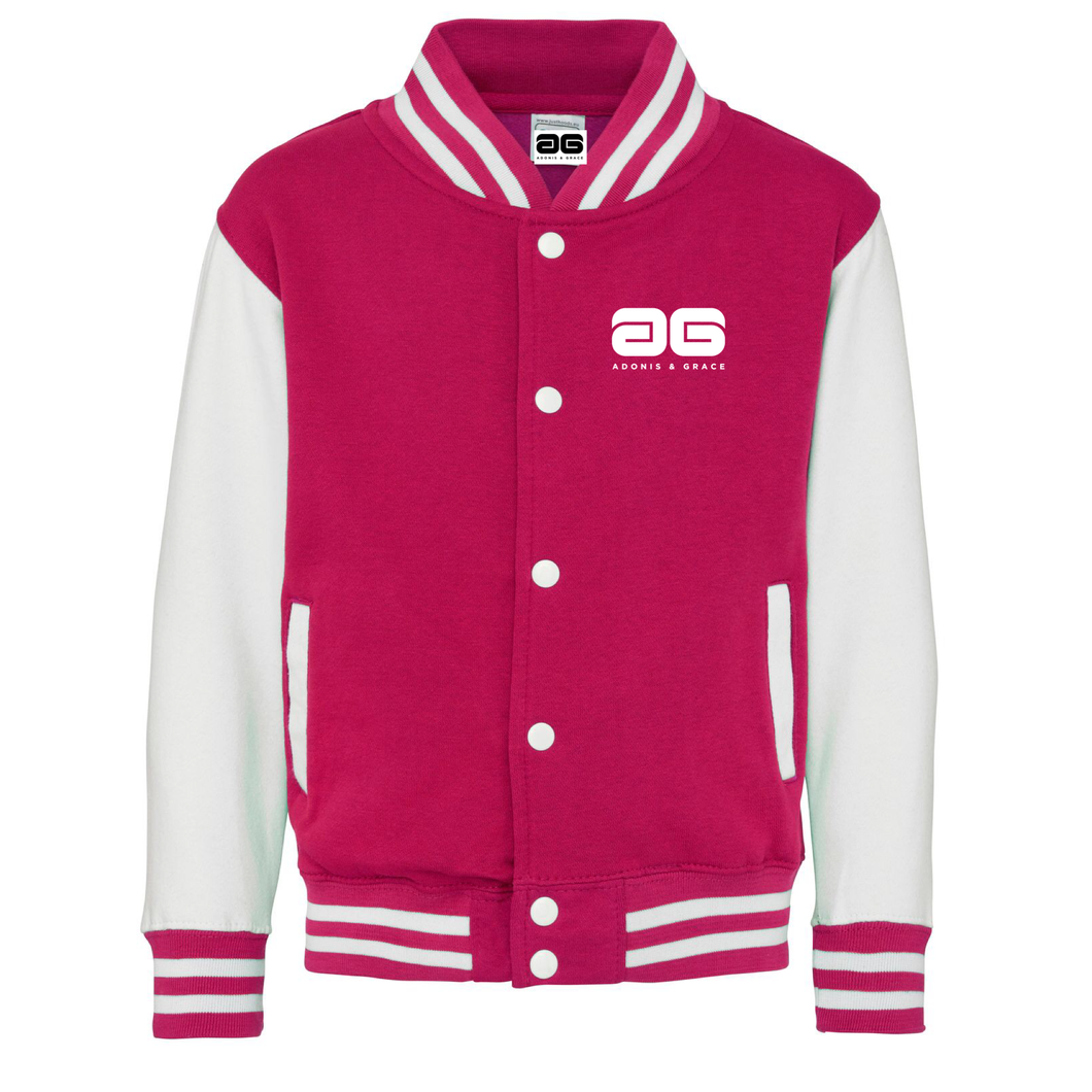 Adonis & Grace Kids Varsity College Jacket Pink