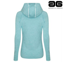 Load image into Gallery viewer, Adonis & Grace Womens Cowl Neck Hooded Gym Top Blue