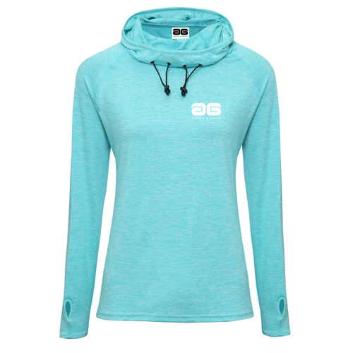 Adonis & Grace Womens Cowl Neck Hooded Gym Top Blue
