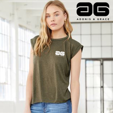 Load image into Gallery viewer, Adonis & Grace Flowy Muscle Gym Tee with Rolled Olive