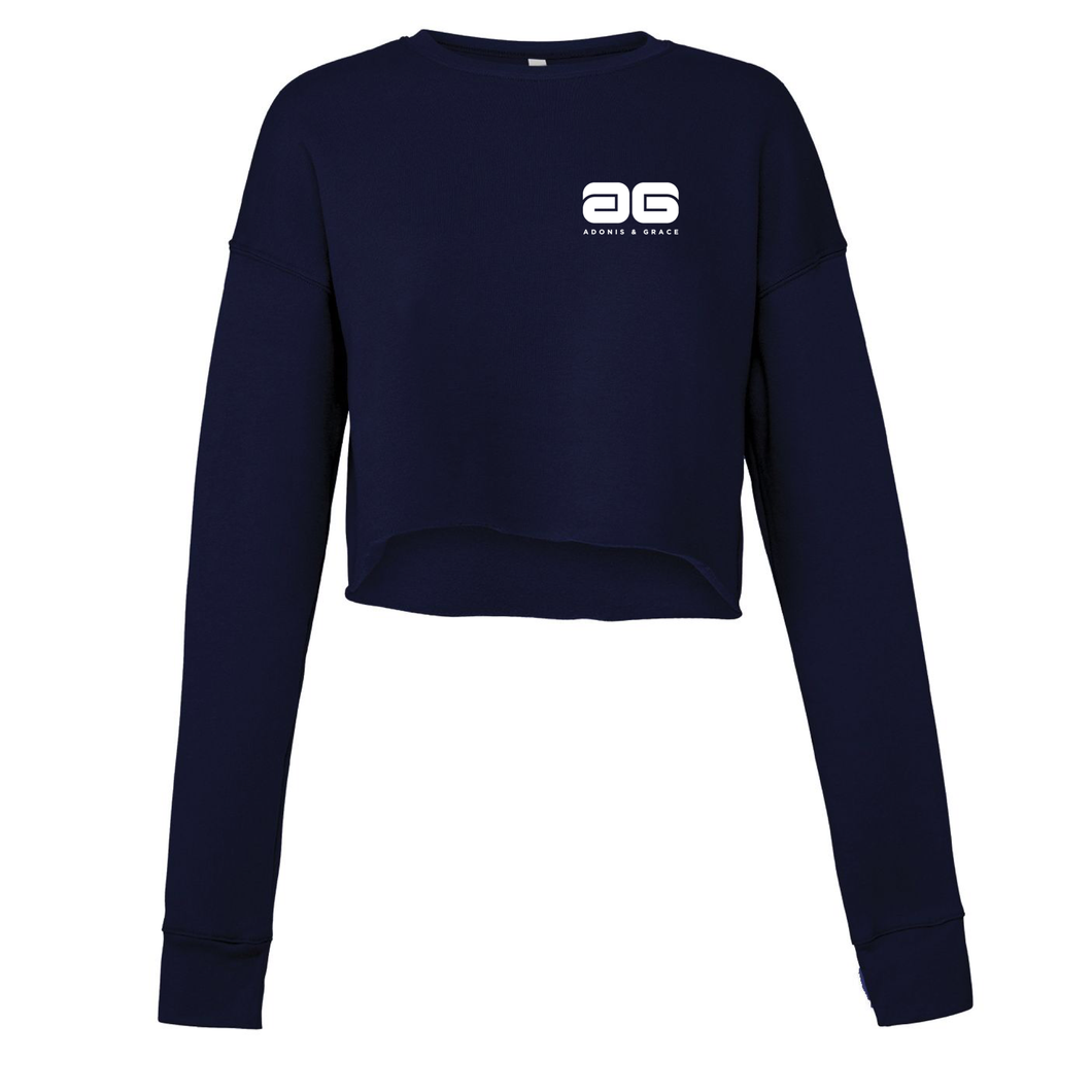 Adonis & Grace Cropped Crew Gym Fleece Navy