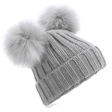 Load image into Gallery viewer, Adonis & Grace Faux Fur Double Pom Pom Beanie Grey