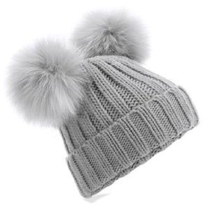 Adonis & Grace Faux Fur Double Pom Pom Beanie Grey